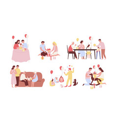 Collection of people celebrating first birthday vector