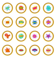 Comic sound cloud set icons circle vector