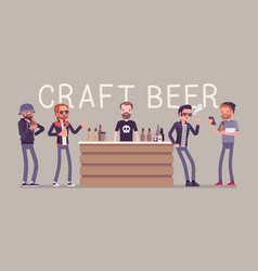 Craft beer store bar and male visitors vector