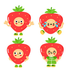 Cute funny strawberry with baby face set vector