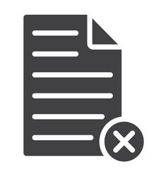 Delete document glyph icon web and mobile vector