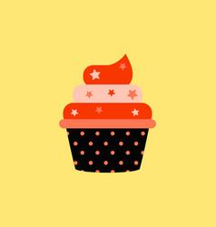 Delicious cupcake in flat vector