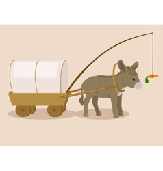 Donkey pulling carriage chasing a carrot vector