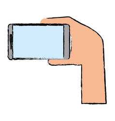 Drawing hand with mobile device modern vector