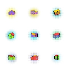 Dwelling icons set pop-art style vector