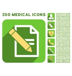 Edit Records Icon and Medical Longshadow Icon Set vector image