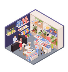 Exotic pets shop isometric vector