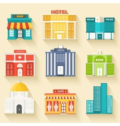 Flat colorful sity buildings icon vector