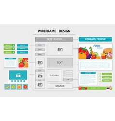 Flat website wireframe template vector