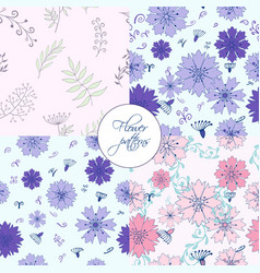 four in one cute flower elements patterns vector image