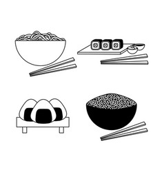 Four japanese dishes in simple sketch style ramen vector