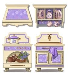 Furniture for kitchen in retro style purple color vector