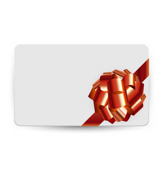 Gift card template with bow and ribbon vector