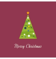 Green decorated Christmas tree with a yellow star vector image