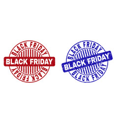 grunge black friday textured round stamp seals vector image
