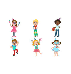 happy kids having fun at birthday party carnival vector image