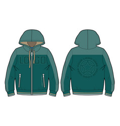 Hooded sports sweatshirt with pockets vector