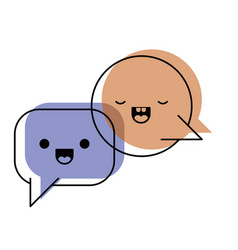 Kawaii dialogue speech set with tail in watercolor vector