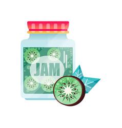 Kiwi jam glass jar of fruit confiture vector