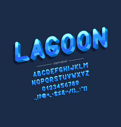 Lagoon font and alphabet type vector