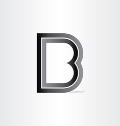 Letter b black icon vector