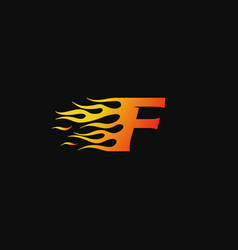 letter f burning flame logo design template vector image