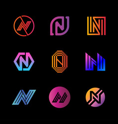 Letter logo n color gradient full color vector