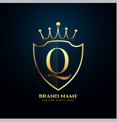 letter q crown tiara logo concept golden design vector image