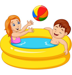little girl and boy playing in an inflatable pool vector image