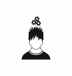 Man with metal gears over head icon simple style vector image
