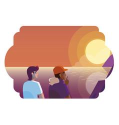 Men couple contemplating horizon sky sunset vector