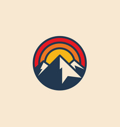 minimalistic circular mountain logo icon design vector image