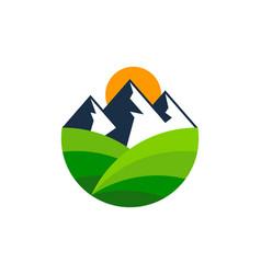 mountain farm logo icon design vector image