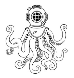 octopus and old diver helmet coloring vector image