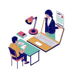 Online job interview flat isometric vector