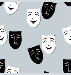 Pattern of the theatrical emotion masks vector