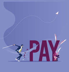 Pay cutting concept businessman cut tax word vector