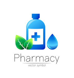 Pharmacy symbol with blue bottle and cross vector