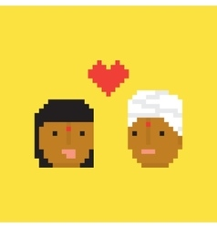 Pixel art style indian couple in love vector