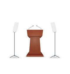 Podium tribune with microphone vector