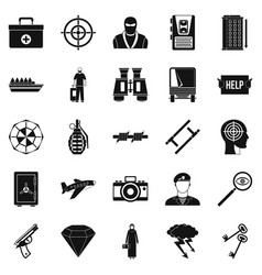 Police icons set simple style vector
