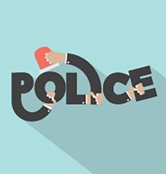 Police With Siren Light In Hands Typography Design vector image