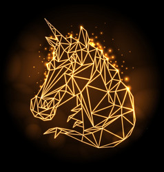 polygonal tirangle fantasy animal unicorn vector image