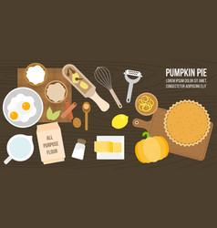 Poster of pumpkin pie ingredients and utensils vector