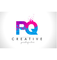 pq p q letter logo with shattered broken blue vector image