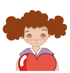 pretty girl with heart and casual wear vector image