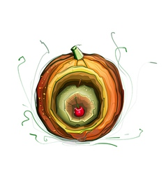 Pumpkin Apple Cherry Still Life vector image