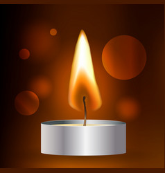 Realistic flame tea candle on dark vector