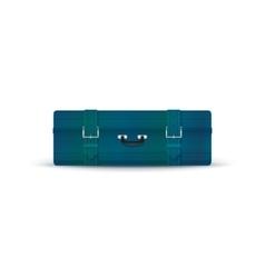 Retro Blue Suitcase Isolated on White vector image