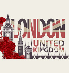 retro postcard with the big ben and red roses vector image